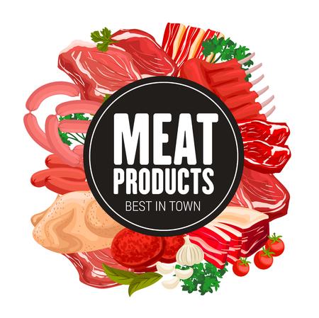 Macelleria gastronomia gourmet di carne e salsicce. Gastronomia vettoriale prodotti alimentari a base di carne, tacchino o pollo, salame, bistecca di manzo e prosciutto di maiale con pancetta, costolette di montone e spezie da cucina Vettoriali