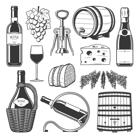 Wine production, wine making and wine drinking culture icons. Illustration