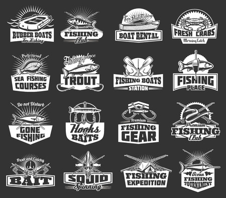 Big fish catch adventure icons and fishing club badges. Illustration