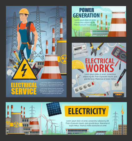 Electricity and energy power generation, electrician electrical service posters. Vector power plants and energy production station, windmills and nuclear powerplant maintenance voltage equipment