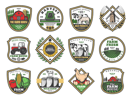 Farmhouse agriculture and cattle farm food production icons.