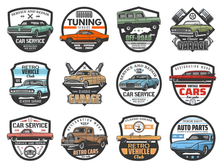 Car service, auto repair garage and automotive mechanic icons. Illustration