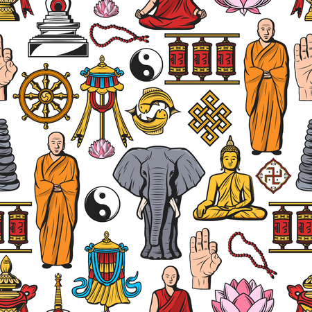 Buddhism symbols, meditation and Buddhist religion seamless pattern Çizim
