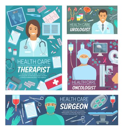 Hospital doctors, medical clinic staff and treatment equipment.
