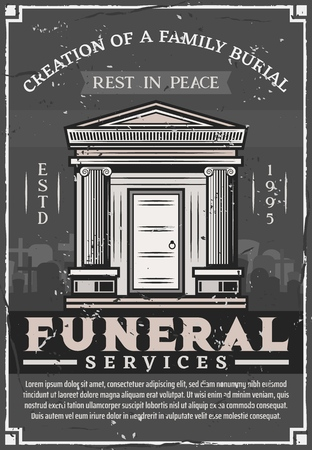 Funeral service agency, family burial vintage poster. Vector grunge Rest in Peace RIP text, crypt tomb and tombstone at cemetery graveyard in memorial ceremony frame with funeral ribbon Illustration