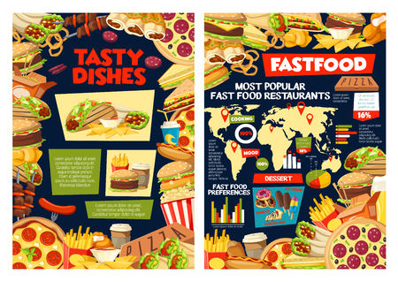 Fast food infographic, popular fastfood restaurants on world map and sandwiches preference percent. Vector pizza delivery and burgers take away charts and street food snacks facts diagrams