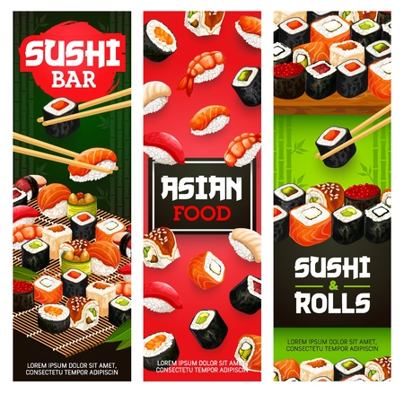 Japanese sushi bar menu banners of maki rolls with fish and seafood in chopsticks.