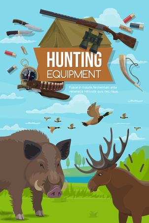 Hunter sport adventure ammunition equipment, hunting open season wild animals. Vector forest hunt for elk antler, boar hog and ducks fowl, hunter ammo rifle gun and bullets bandolier, compass and horn Illustration