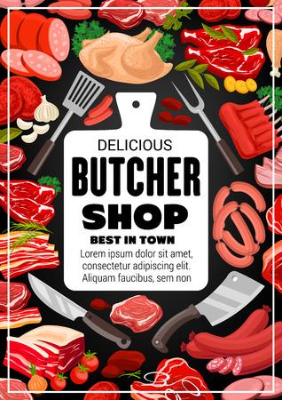 Butcher shop bbq meat and delicatessen sausages. Reklamní fotografie - 123370394