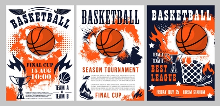 Basketball tournament, sport league cup championship posters. Vector basketball ball goal in basket, streetball player shoe and fire flame with victory stars on halftone orange and blue background