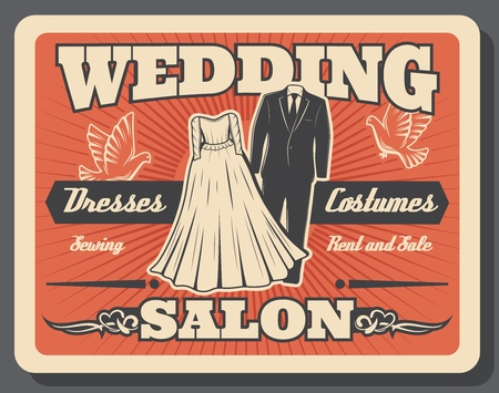 Wedding salon vintage poster, bride wedding dress and bridegroom costume suit rent, sale and tailor sewing service. Illustration