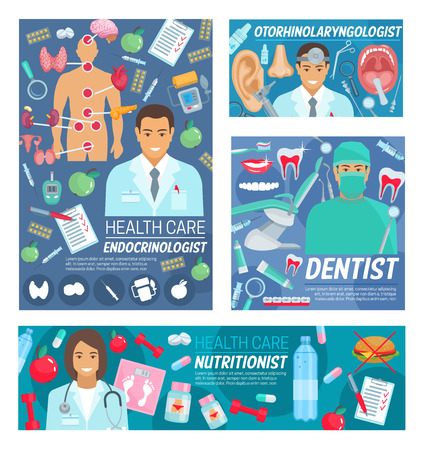 Hospital doctors and medical clinic staff dentist Illustration