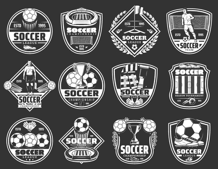 Soccer club badges, football team emblems and sport championship cup icons.