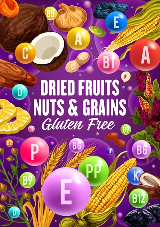 Dried fruits, natural nuts and organic cereal food. Illustration