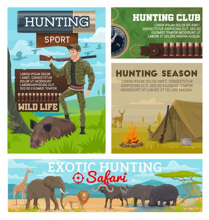 Équipement de munitions d'aventure de sport de chasseur, chasse aux animaux sauvages de saison ouverte. Chasse à la forêt vectorielle pour le bois de wapiti, le porc de sanglier et la volaille de canard, le fusil à munitions de chasseur et la bandoulière de balles, la boussole et la corne
