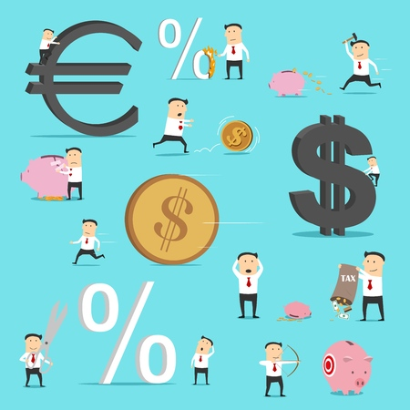Businessman situations, business metaphor icons. Vector office manager character with euro and dollar money income, aim on piggy bank investment savings, percent decrease, tax growth and crisis loss