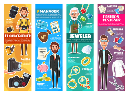 Photographer, fashion designer, jeweler and business manager professions and professional equipment. Vector photo camera, jewelry tools, money contract and piggy bank, tailoring scissors and threads