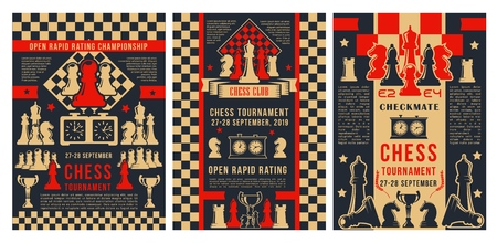 Chess academy game tournament, checkmate strategy sport championship posters. Vector chess club cup for beginners and professional players, chessboard pieces with game score clock and victory stars Banque d'images - 128161943