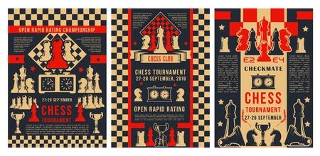Tournoi de jeu d'académie d'échecs, affiches de championnat de sport de stratégie d'échec et mat. Coupe du club d'échecs vectoriel pour débutants et joueurs professionnels, pièces d'échiquier avec horloge de score de jeu et étoiles de victoire