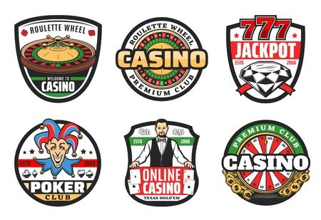 Poker club signs, casino gambling game icons. 版權商用圖片 - 123370403