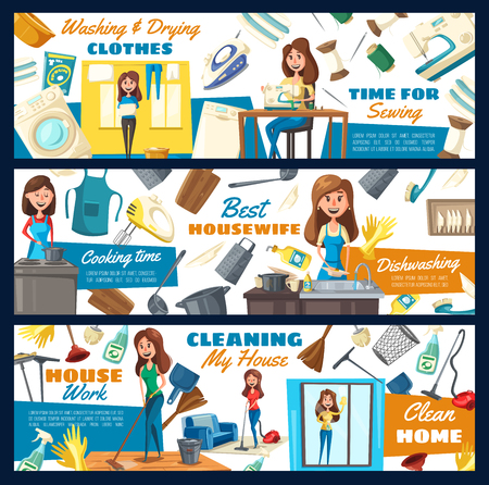 Home cleaning service, laundry and dish washing, home needlework. Illustration