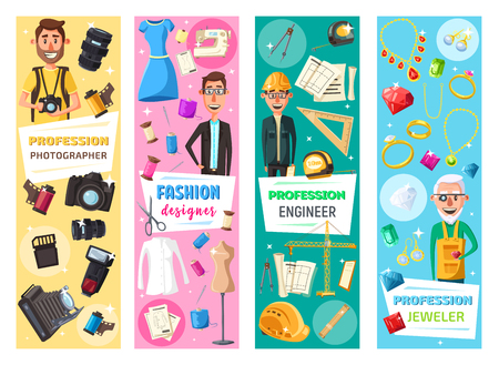 Professions and professional equipment banners of photographer, fashion designer, jeweler and construction engineer. Vector work tools photo camera and building plan and jewelry and tailoring scissors Ilustração