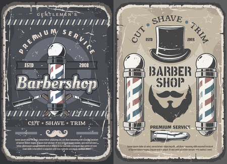 Barbershop vintage posters, premium men hair cutter, mustache and beard shaving salon. Ilustração