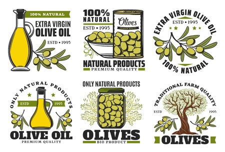 Extra virgin olive oil icons and natural farm food olive products.