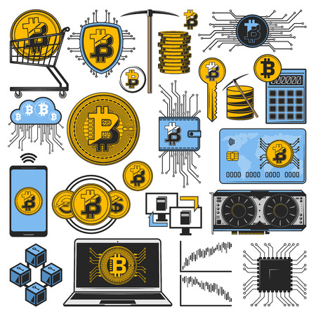 Cryptocurrency bitcoin, digital money mining and blockchain technology. Vector crypto currency bit coins currency, digital miner computer key, finance transaction wallet and virtual bank payment icons Ilustração