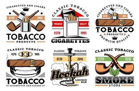 Puros, cigarrillos y etiquetas de fábrica o empresa de tabaco de primera calidad.