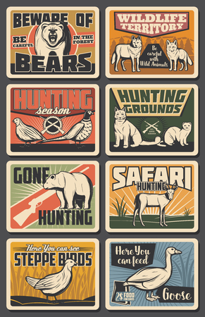Hunting opes season, wild animals natural park and African safari hunt posters.