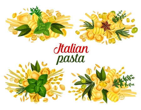 Italian cuisine pasta and cooking spice ingredients.