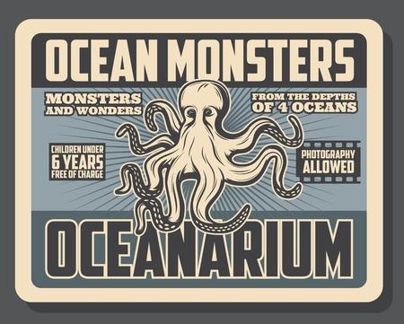 Ocean monsters oceanarium show and marine animals exhibition tour vintage poster.