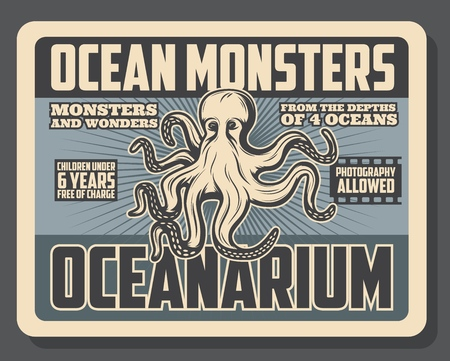Ocean monsters oceanarium show and marine animals exhibition tour vintage poster.