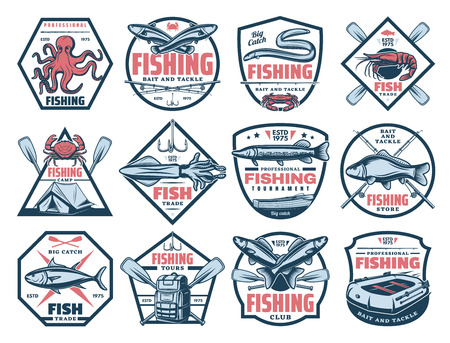 Iconos de aventuras de pesca al aire libre, atún, trucha y anguila, torneo de captura de peces grandes.