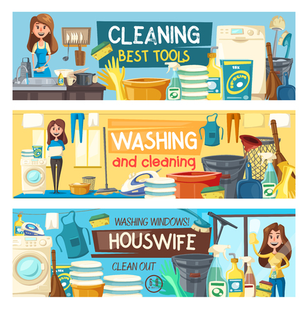 Home cleaning and housewife service banners.