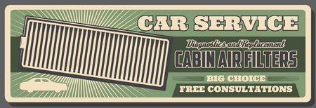 Car service and vehicles repair station retro poster.