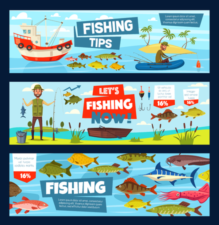 Fishing outdoor adventure infographic diagrams. Illustration