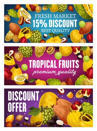 Exotic farm fruits discount promo banners, tropical farm agriculture harvest special offer. Vector organic durian, pomelo and lucuma, tamarind and tropic soursop, longkong and cherimoya fruits