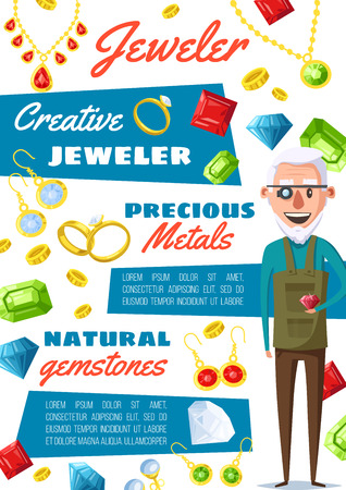 Jeweler professional worker and jewelry bijou gemstones appraiser. Vector jewelry goldsmith repair expert with gems, golden rings and necklaces, diamond earring and ruby pendant, sapphire and emerald Ilustração
