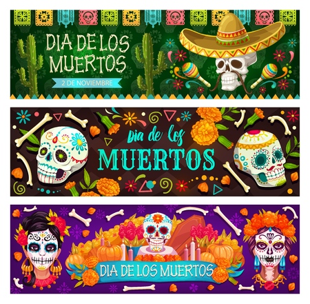 Day of Dead Mexican holiday, Dia de los Muertos party banners and flags. Vector Dia de los Muertos fiesta marigold flowers, catrina calavera skull in floral decoration, skeleton in Mexican sombrero