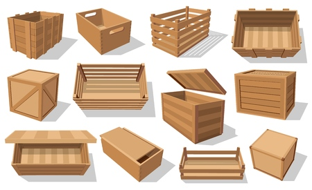 Boîtes en bois et colis icônes isolées. Palettes vectorielles et conteneurs de transport de fruits et légumes, tiroirs et caisses en bois vides, packs de distribution de fret. Boîtes d'expédition emballées avec des trous Vecteurs
