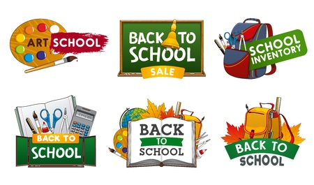 School supplies vector icons of Back to School and education design. Student book, backpack and chalkboard, notebook, pencil and globe, pupil stationery, paint brush and calculator, glue and scissors
