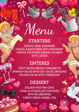Wedding menu card, Save the date marriage party dishes list. Vector wedding menu starters, entrees and desserts, cupid angels and kissing birds, roses flowers and golden ring with diamond