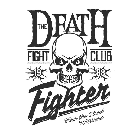 Fight club sign, t-shirt print template. Vector death skeleton skull with anger fire, MMA street fighters and martial arts badge, punch and kick grunge strike symbol of agression and rebel