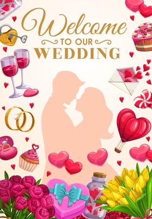 Welcome to our wedding invitation card, bride and groom, frame marriage accessories. Vector tulips and peonies bouquets, air balloon romantic transport and cupcake. Wine glasses and gifts, lollipop