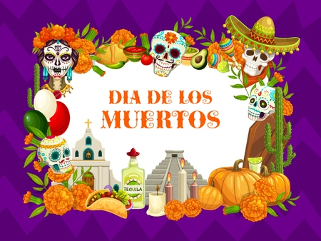 Mexican Day of Dead or Dia de los Muertos holiday fiesta. Vector Dia de los Muertos traditional celebration symbols of calavera skull in sombrero with floral patter painting and marigold flowers