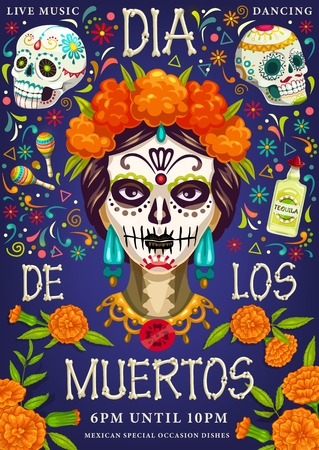 Dia de los Muertos, Day of dead party. Vector Dia de los Muertos traditional calavera skull with marigold floral pattern, fiesta tequila and maracas with skeleton bones lettering greeting