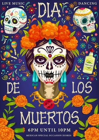 Dia de los Muertos, fête du jour des morts. Image vectorielle crâne calavera traditionnel Dia de los Muertos avec motif floral de souci, tequila fiesta et maracas avec des os de squelette lettrage salutation