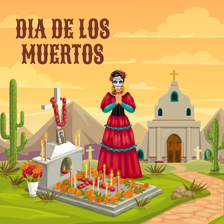 Dia de los Muertos Mexican traditional holiday. Woman with calavera skull face in Mexican dress, pray hands at church cemetery graveyard with flowers and candles at cross tomb Banque d'images - 128161962